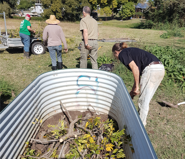 Putting in raised beds for planting